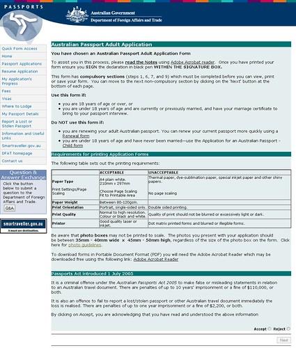 Australian Passport Adult Application start page Annoyance\u2026 Flickr