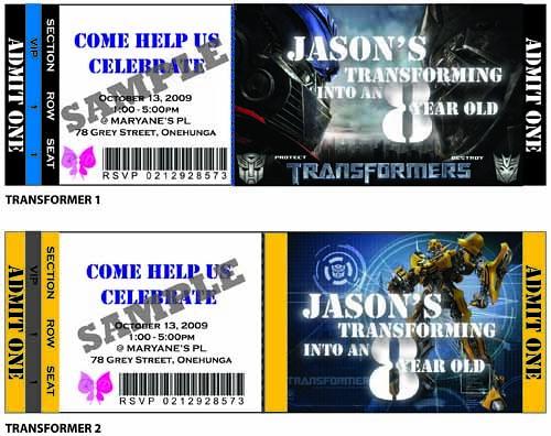 Transformer Birthday Party Ticket Invitation Transformer P\u2026 Flickr - party ticket invitations