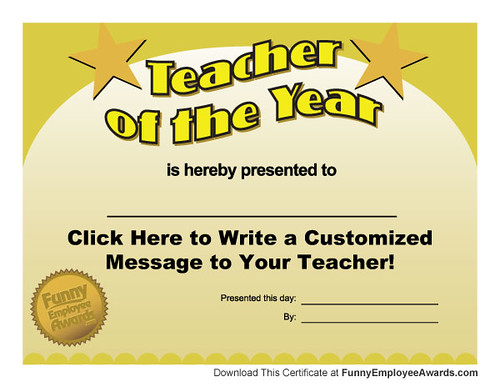Free Teacher of the Year Award Certificate Template Flickr