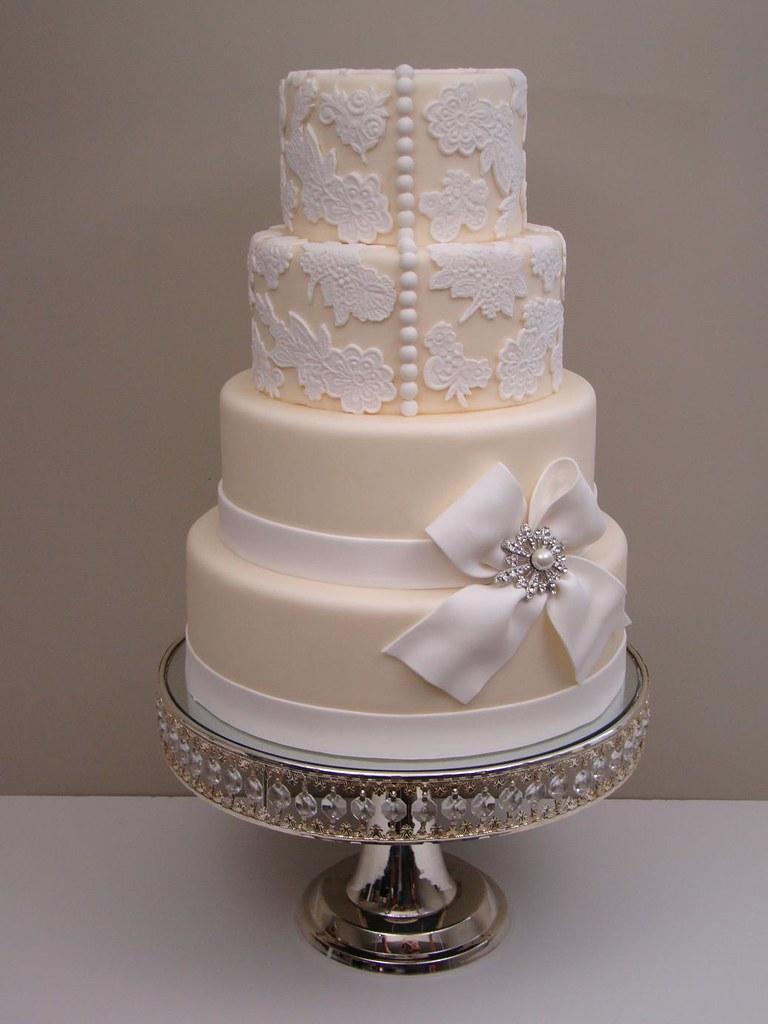 fake wedding cakes Lace Wedding Cake 1 by The Sweetest Thing Cakes Cristina
