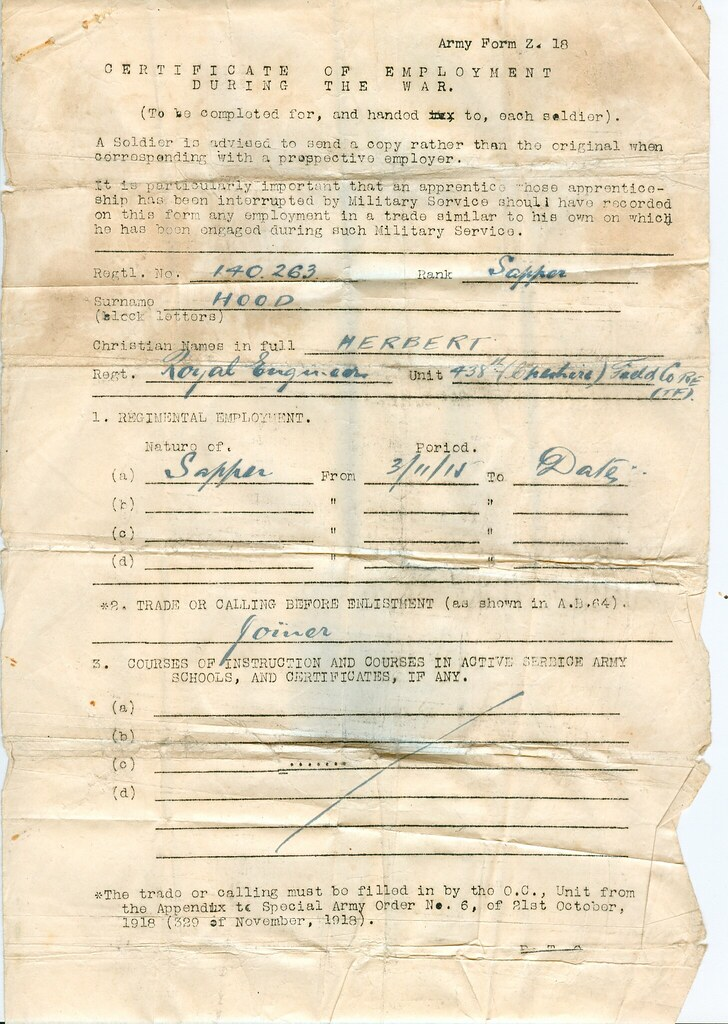 WW1 Certificate Of Employment - Army Form Z18- Part I Flickr