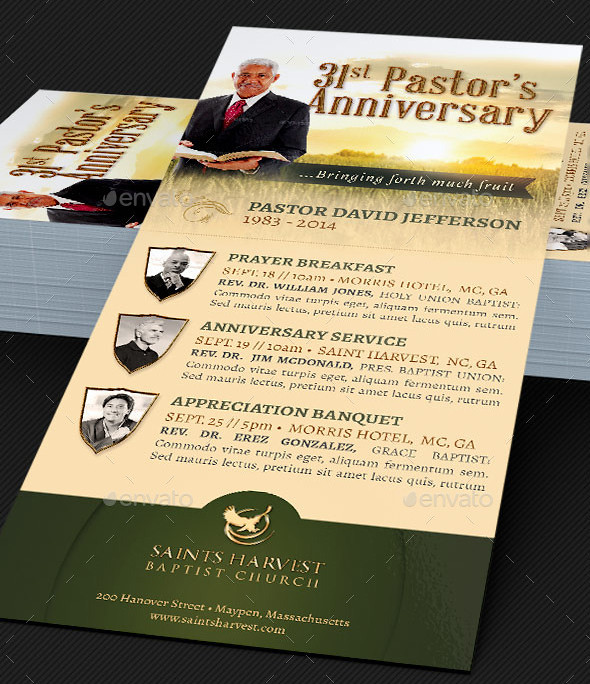 Pastor Anniversary Rack Card Template-Harvest Pastor Anniv\u2026 Flickr
