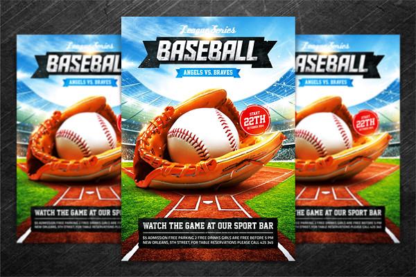 Baseball League Series Flyer, PSD Template \