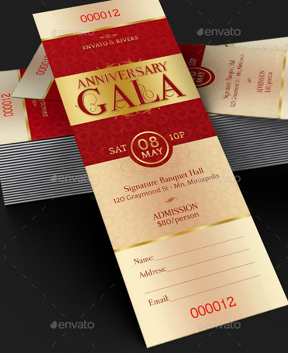 Elegant Anniversary Gala Ticket Template Elegant Anniversa\u2026 Flickr - Ball Ticket Template