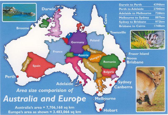 map of australia europe superimposed