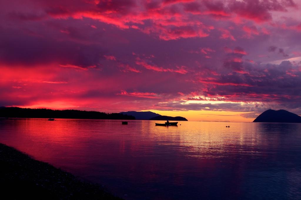 Purple 3d Wallpaper Sunset In The San Juan Islands Sunset In The San Juan