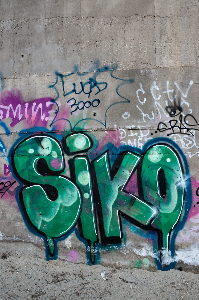 Photo Effects Large Green Siko Graffiti On Concrete Wall | Large Green