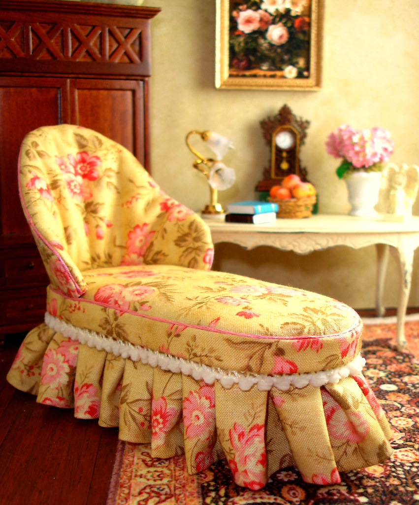 Chaise Design Miniature Golden Floral Chaise A 1 12th Scale Miniature Chaise For A
