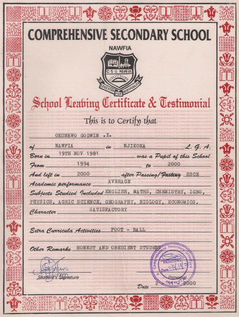 Secondary School Leaving Certificate and Testimonial Flickr - sample school certificate