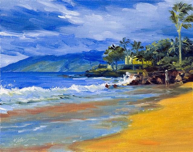 Free 3d Scenic Wallpaper Keating Original Oil Painting Wailea Beach Maui Hawaii
