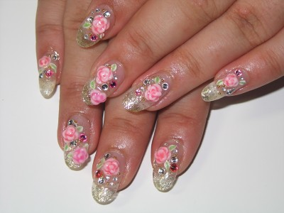 Cozy Gel Nail Aclyric 3d Flowers And Stone Design Negril Nail Art
