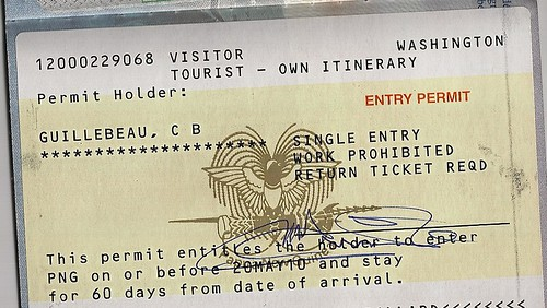 Entry7 Visa For Papua New Guinea Single Entry Work Prohibited