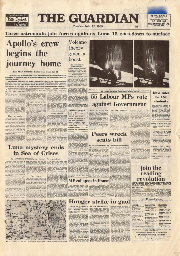 3d Wallpaper Uk Miniature Edition Of The Guardian Newspaper July 22 1969