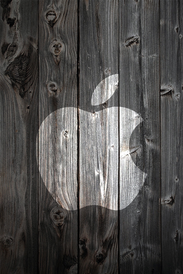 Free Iphone 3d Wallpapers Apple Logo On Wood Iphone 4 Background White Apple