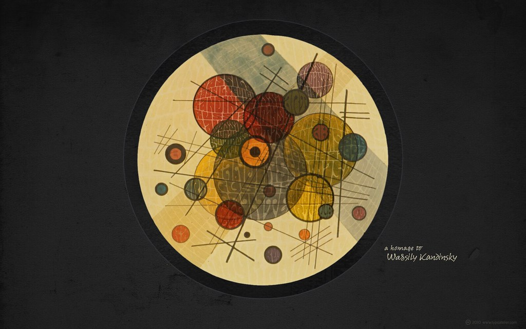 3d Wallpaper Widescreen Homage To Wassily Kandinsky 187 In The Black Circle 171 For Wid