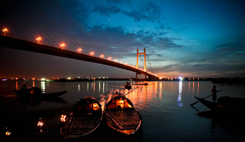 Akash 3d Wallpaper Sunset 2nd Hoogly Bridge Kolkata Shot Princep Ghat