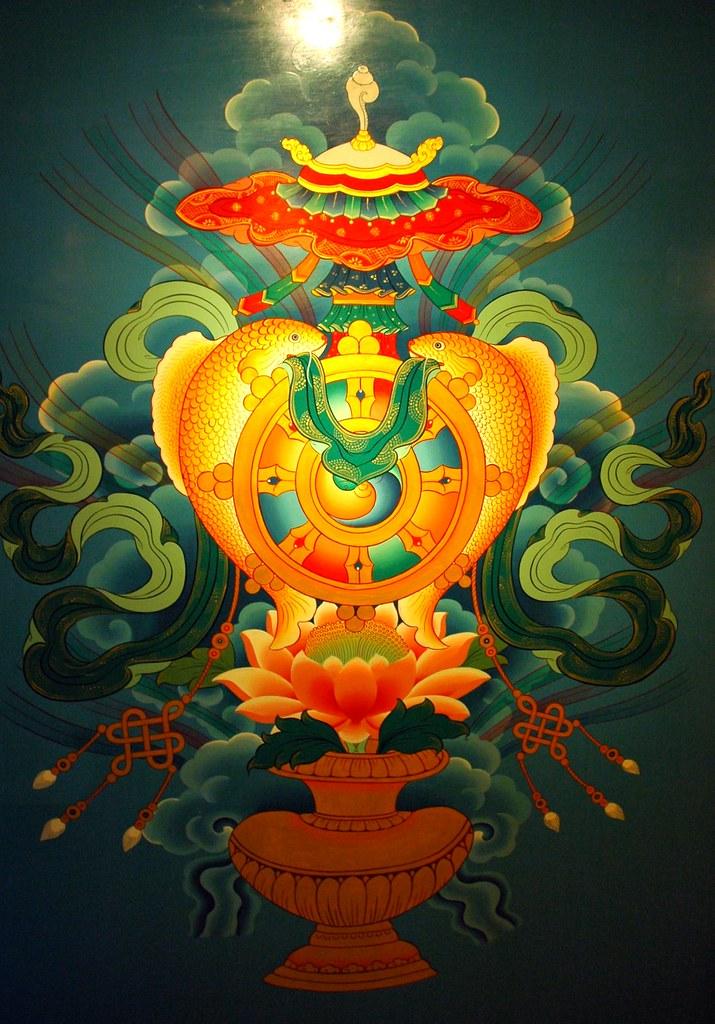 3d Flower Mural Wallpaper Eight Auspicious Symbols Wall Mural Tibetan Buddhist Sym