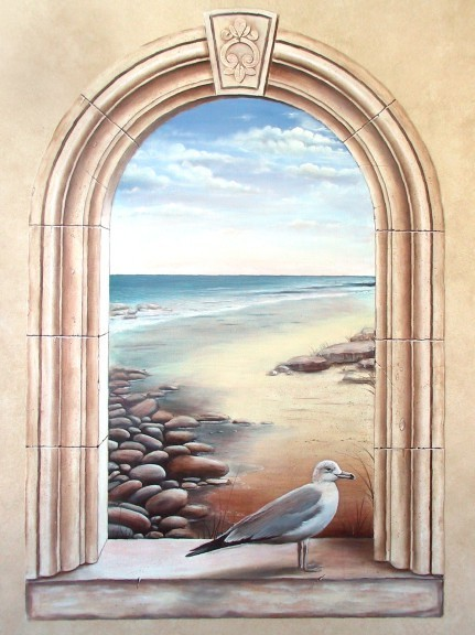 3d Orchid Wallpaper Arched Window Seascape Painted For Body Design Spa This