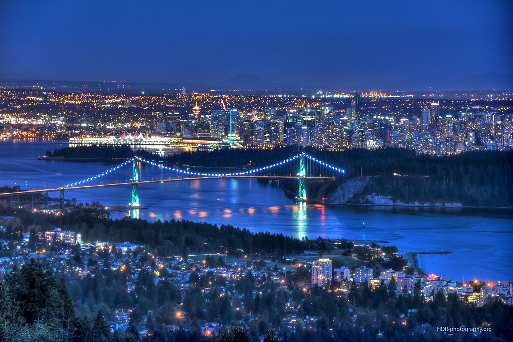 3d Winter Wallpaper Free Hdr Vancouver At Night The City Of Vancouver On A Clear
