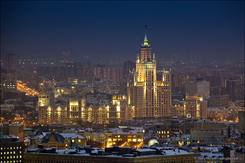 Buy 3d Wallpaper Panels Winter Moscow Cityscape At Night Aerial View Buy Photo