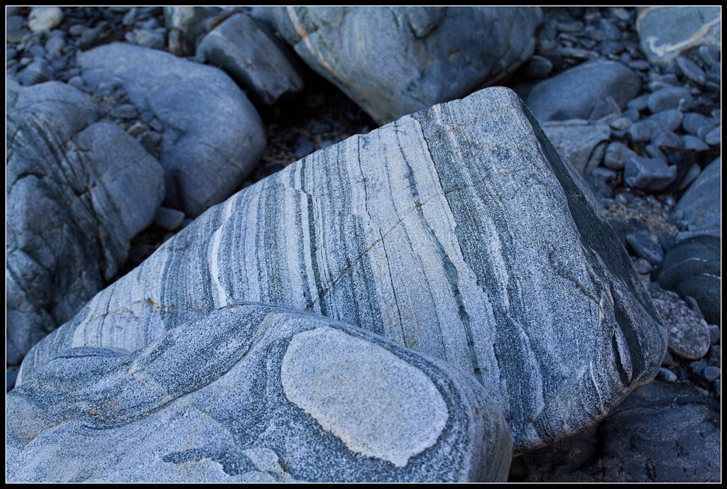 Pro To B Gneiss Textures | Banded Gneiss Rocks, Closeup, At Port