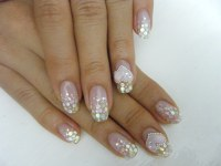 GEL NAIL with glitter and hologram(glitter) design with 3D ...