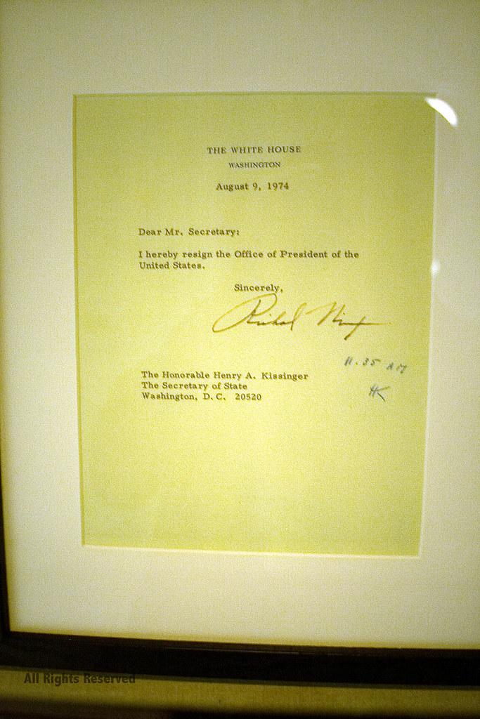 Resignation Letter Nixon\u0027s resignation letter *PhotoByJohn