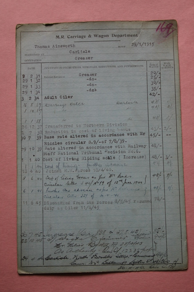 Midland Railway Employee Record Card Destined for the dus\u2026 Flickr