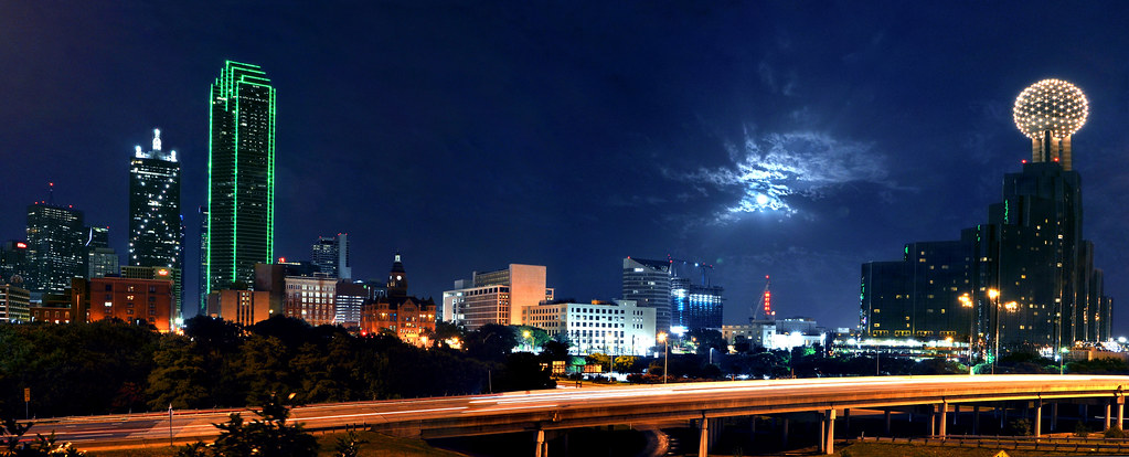 Moon Wallpaper Hd Dallas Moon Panoramic Treatment Of Dallas Skyline With