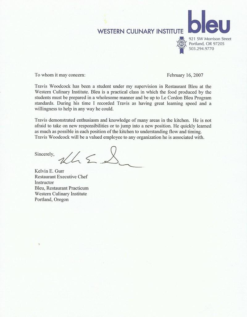 Reference Letter Sample Reference Letter Format Chef In Tahoe Reference Letter Chef In Tahoe Travis