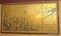 Large Japanese hand-painted on gold leaf wall art folding ...