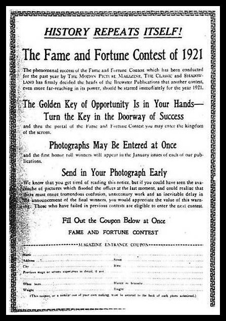Fame And Fortune Contest Ad 1921 When Movies Were Silent - medical certificate form