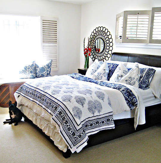 white floral bedding