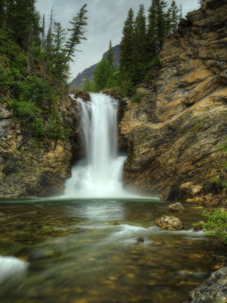 Fall In Love Wallpaper Running Eagle Falls Glacier National Park An Overcast