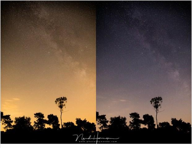 In Lighroom bewerkte foto. Beide beelden hebben exact dezelfde bewerking gekregen om zo de melkweg beter zichtbaar te krijgen.