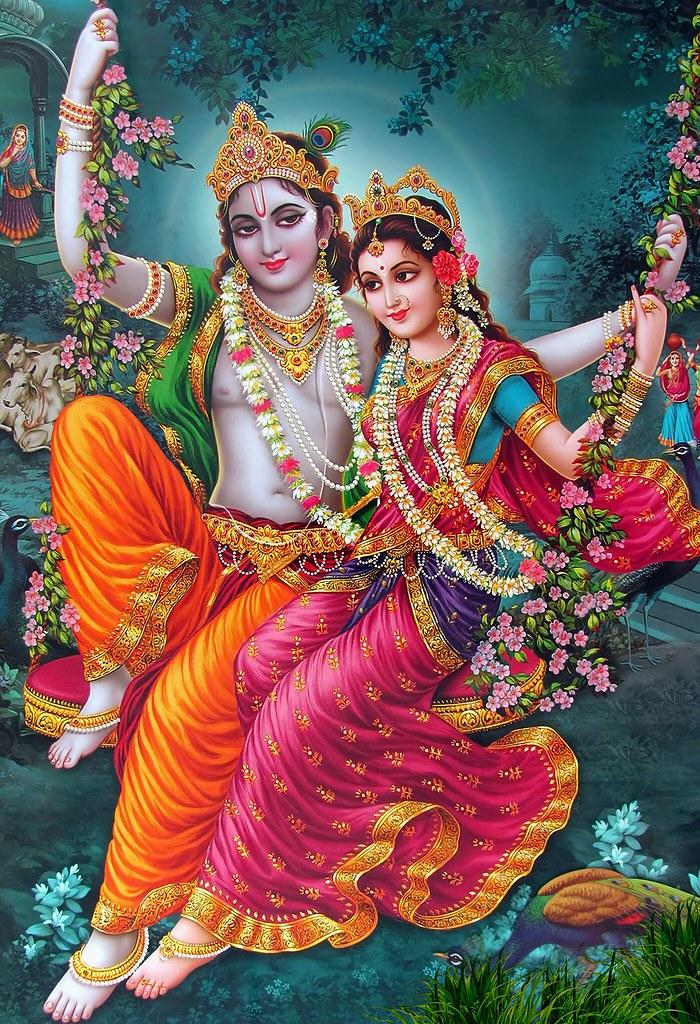 3d Bollywood Wallpaper Download Radha Enjoying With Krishna On Swing In Garden Infinite