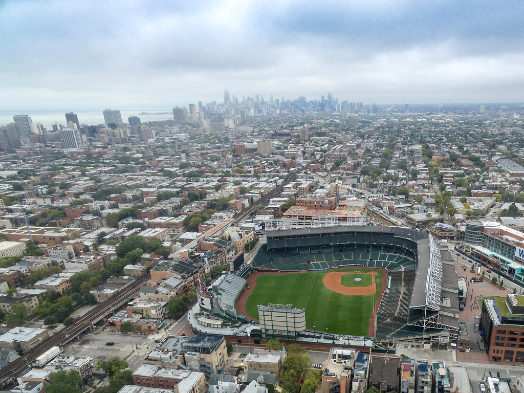 Download Desktop 3d Wallpapers Aerial Of Wrigley Field Stadium With Chicago Skyline In Th