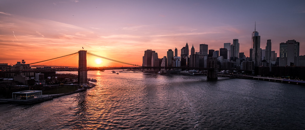 3d River Wallpaper Brooklyn Bridge And Manhattan At Sunset New York Citys