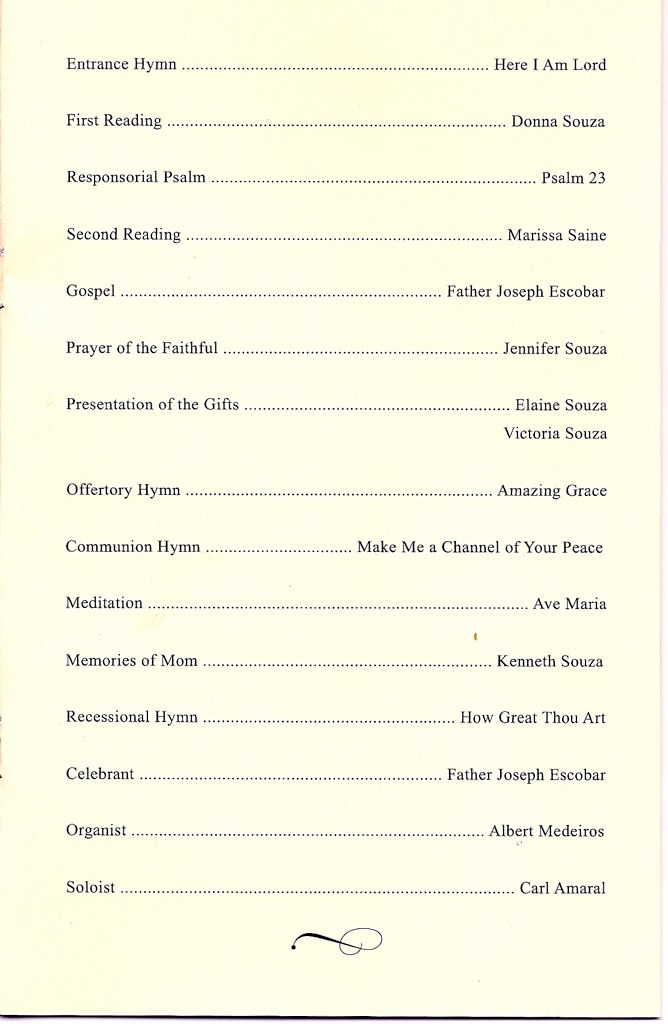 AMELIA B SOUZA - portion of program for the funeral mass \u2026 Flickr - program for a funeral