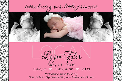 Modern Scroll Baby Girl Birth Announcement Modern Scroll B\u2026 Flickr - Baby Girl Birth Announcements