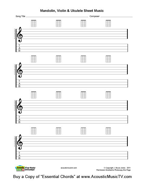 Essential Chords, Mandolin and Ukulele Blank Sheet Music Flickr - music staff paper template