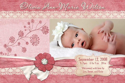 Lace n\u0027 Flowers Baby Girl birth Announcement Lace n\u0027 Flowe\u2026 Flickr - Baby Girl Birth Announcements