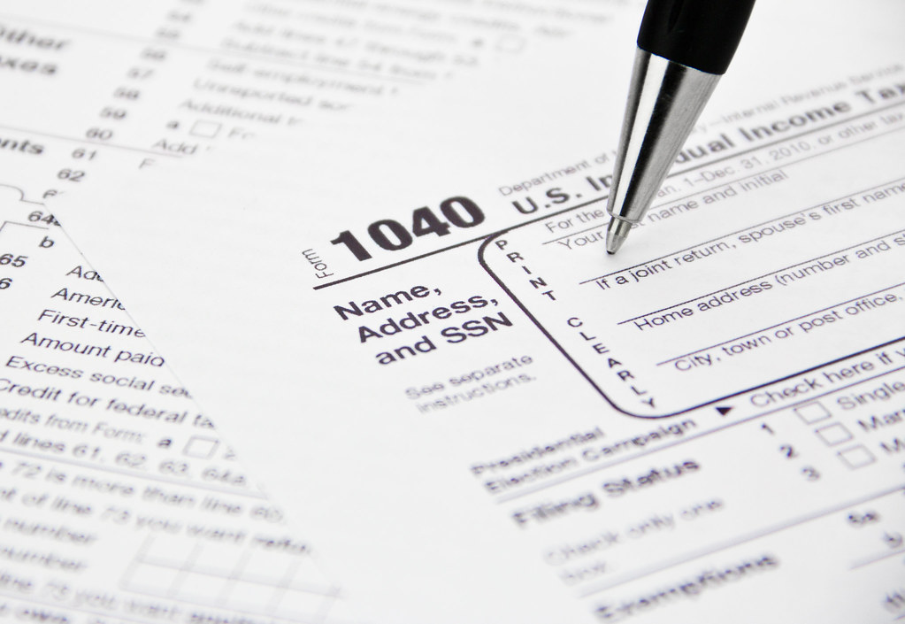 IRS 1040 Tax Form Being Filled Out Feel free to use this i\u2026 Flickr