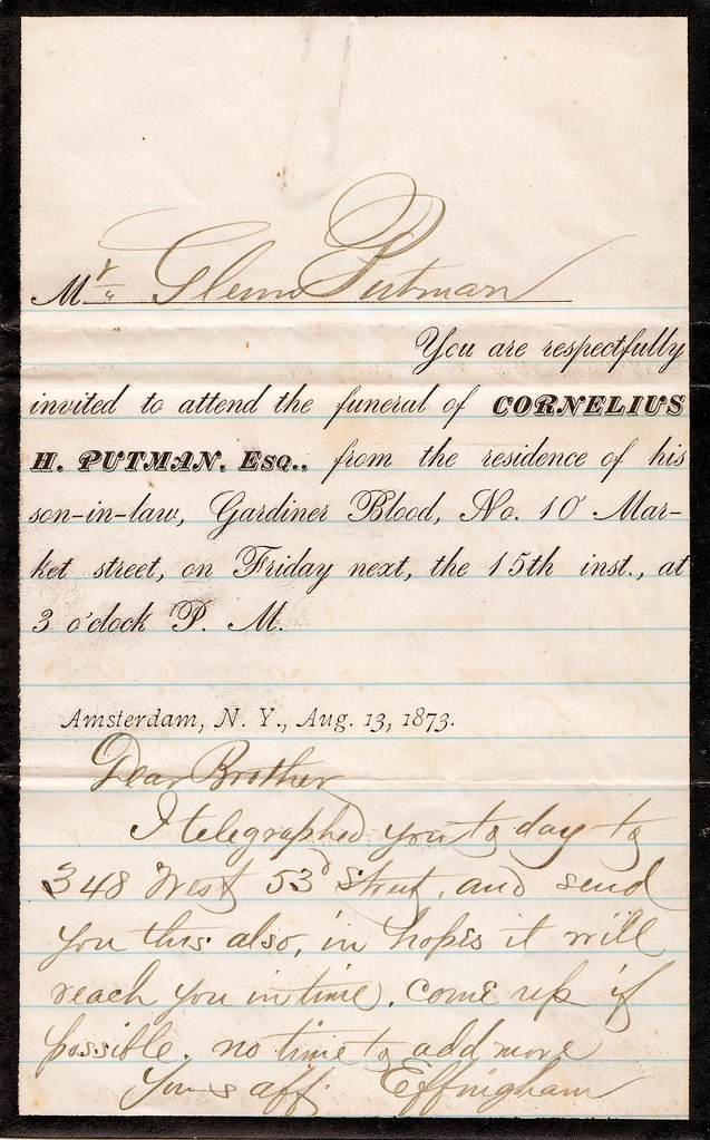 Funeral Invitation and Letter, 1873 \