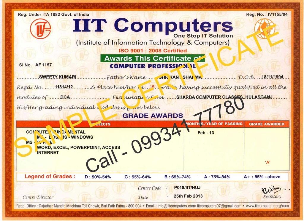 Computer Certificate Format - Fiveoutsiders