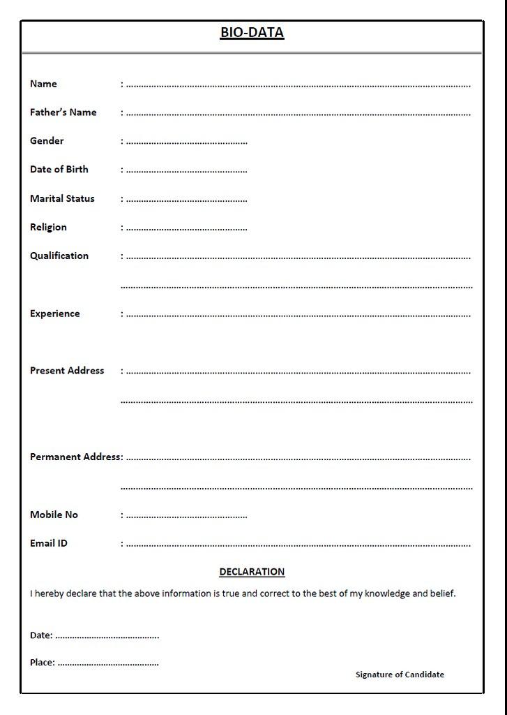 Sample Bio-data - Resume - Curriculum Vitae CV Bio-data \u2026 Flickr