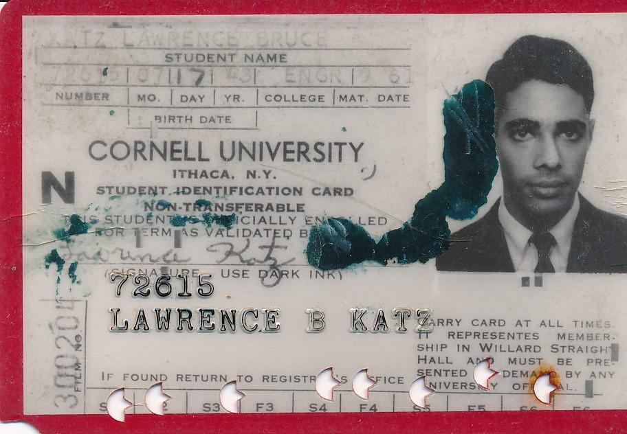 Cornell Student ID Card Date 1961 People Lawrence Katz \u0027\u2026 Flickr - student identification card