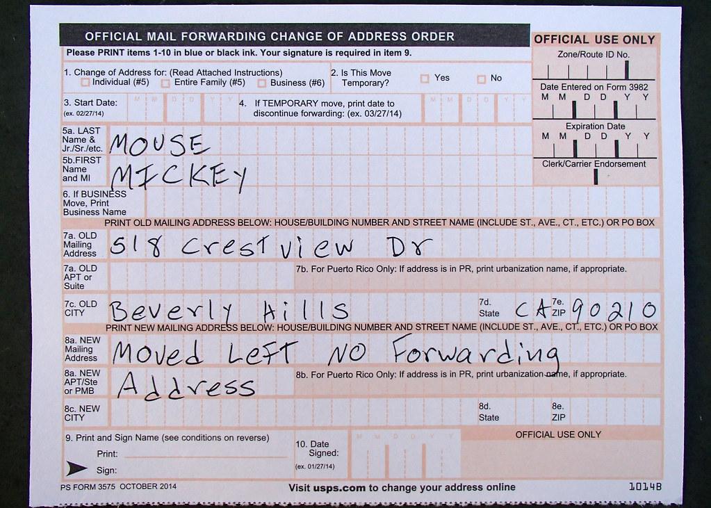 Change Of Address form Moved Left No Forwarding Address Flickr