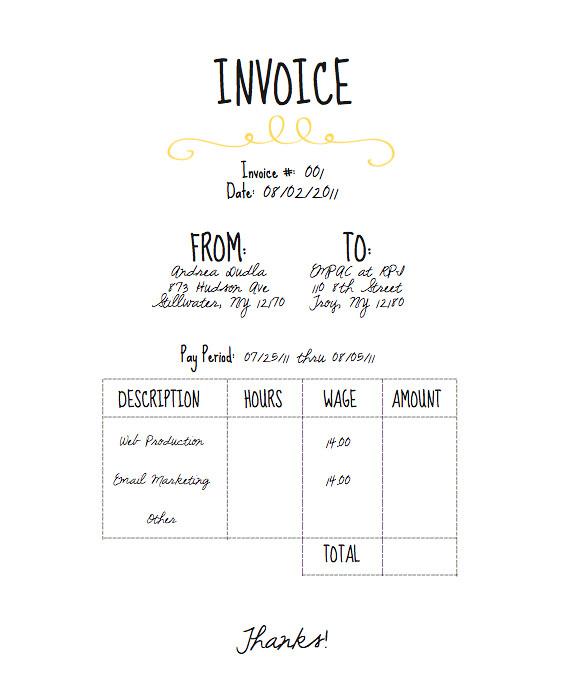 Personal Invoice Andrea Dudla Flickr - Personal Invoice