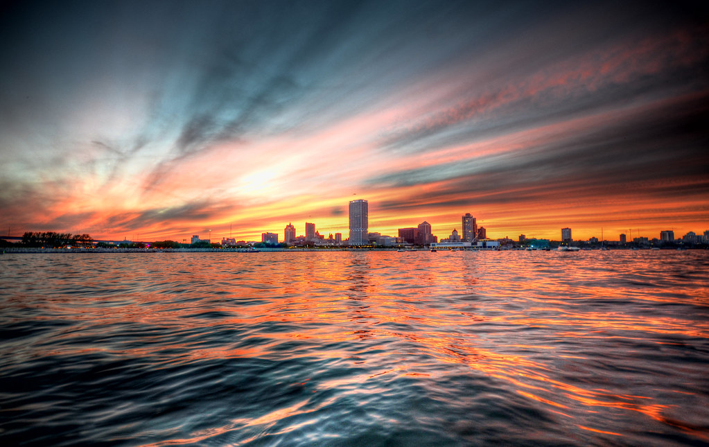 3d World Map Wallpaper For Pc Milwaukee Sunset Hdr I Shot This While On A Boat In